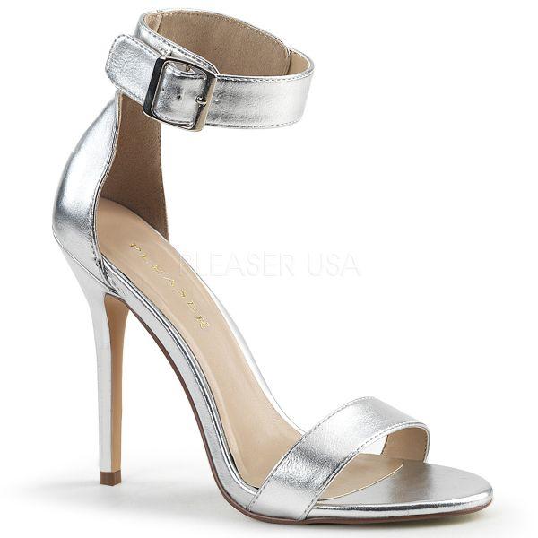 Silberfarbene High-Heel Sandalette mit breitem Fesselriemchen und großer silberfarbener Schnalle Amuse-10